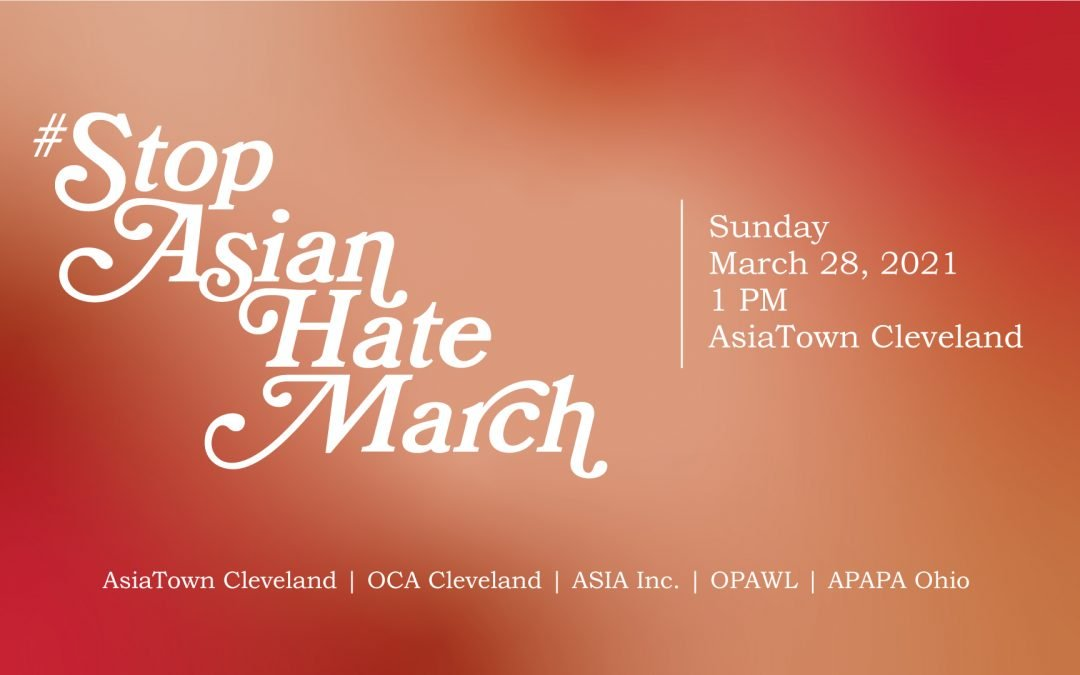Flyer for #StopAsianHate March on 3/28