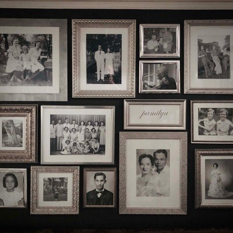 Jing Lauengco family wall of family photographs